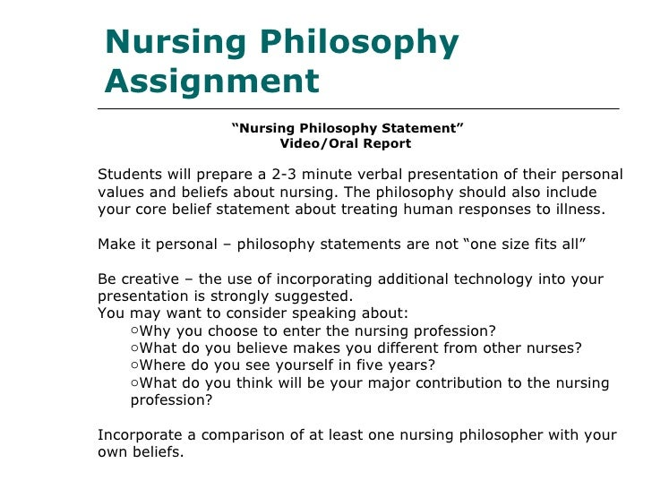 nursing philosophy paper My personal philosophy of nursing incorporates components of the traditional nursing metaparadigm (monti & tingen, 2006) while also incorporating the concept of social justice proposed by schim, benkert, bell, walker and danford (2006.