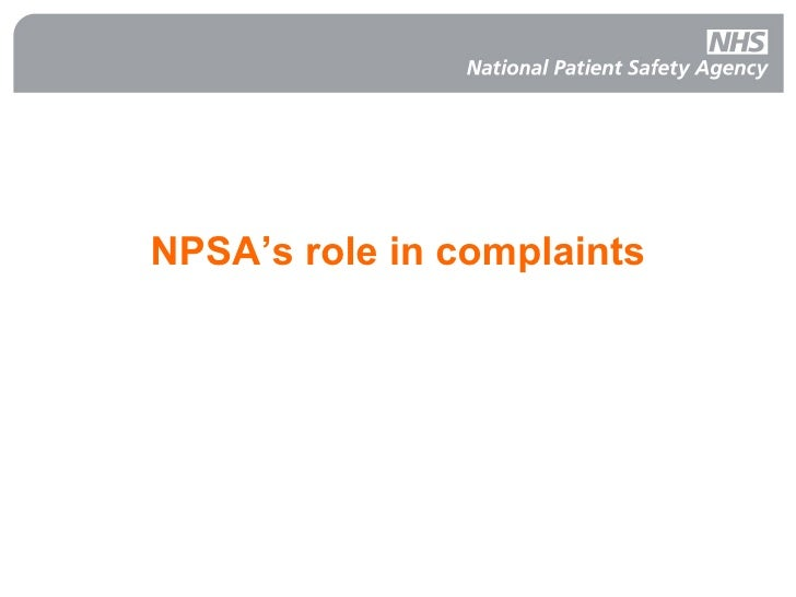 NPSA's role in complaints