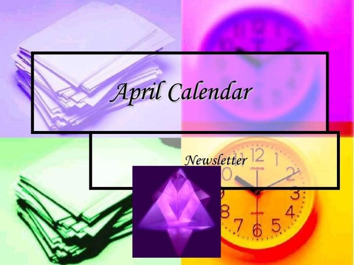 April Calendar Newsletter