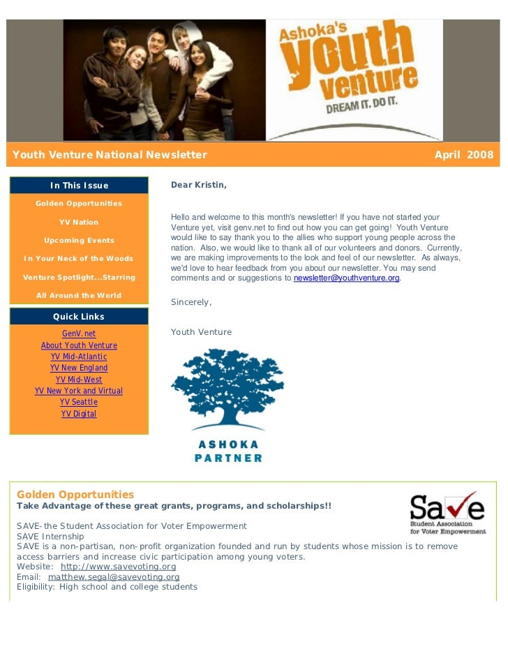 Youth Venture National Newsletter                                                                           April 2008    ...