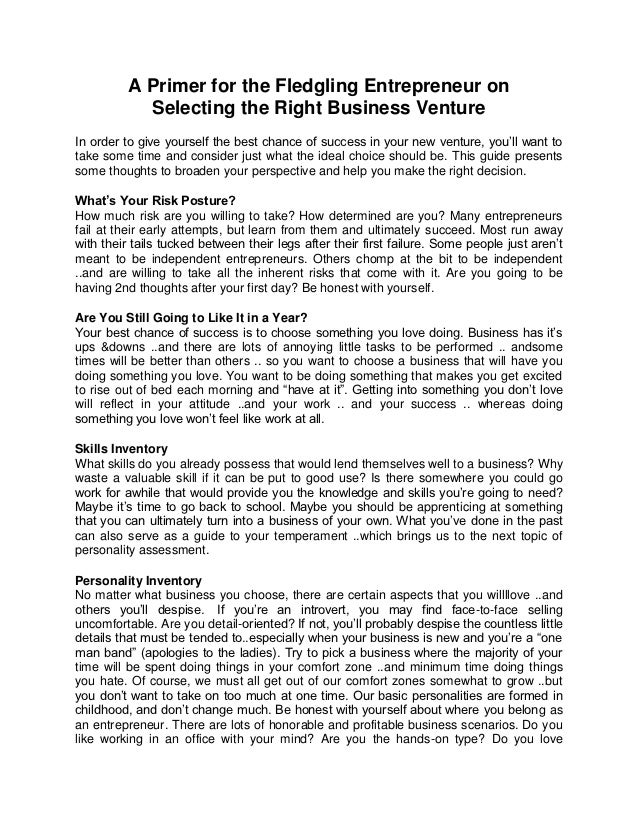 A Primer for the Fledgling Entrepreneur on Selecting the Right Business Venture