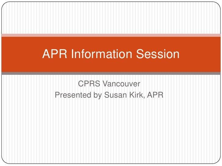 CPRS Vancouver APR Information Webinar