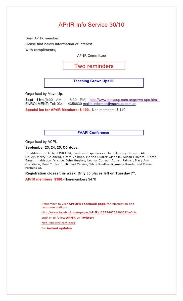 APrIR Info Service 30/10Dear APrIR member,Please find below information of interest.With compliments,                     ...