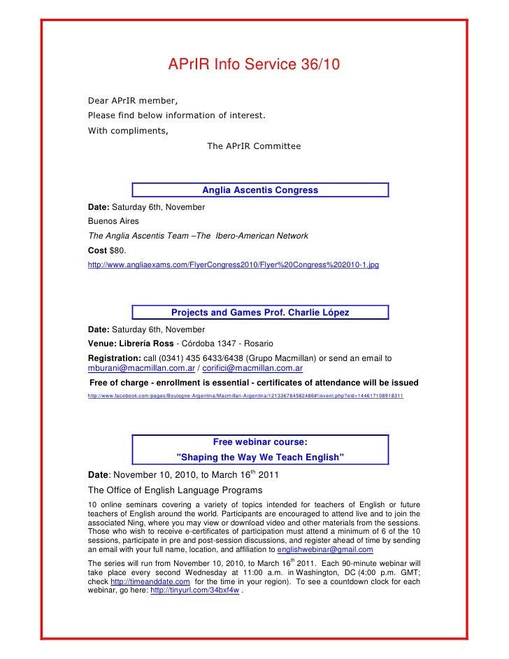 APrIR Info Service 36/10Dear APrIR member,Please find below information of interest.With compliments,                     ...