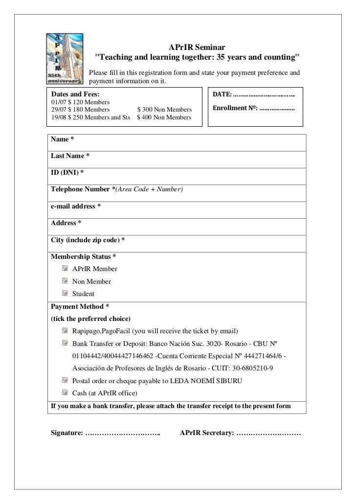 APrIR seminar enrollment form