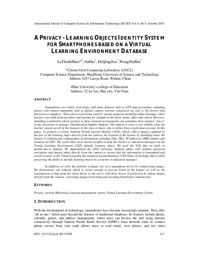 A privacy   learning objects identity system for smartphones based on a virtual learning environment database