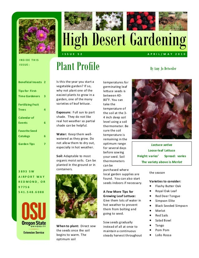 High Desert Gardening                              I S S U E  5 2                                            A P R I L /...