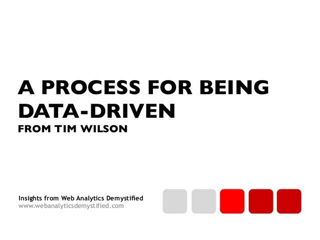 Insights from Web Analytics Demystified www.webanalyticsdemystified.com A PROCESS FOR BEING DATA-DRIVEN FROM TIM WILSON