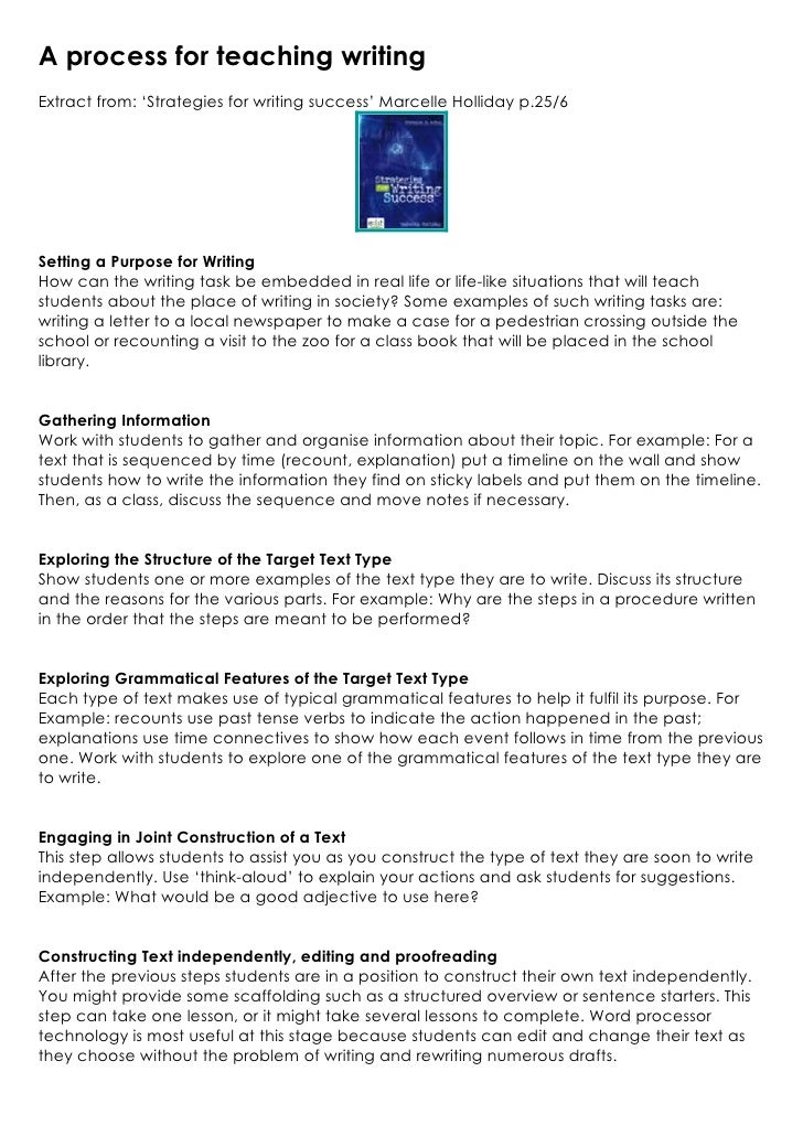A process for teaching writingExtract from: 'Strategies for writing success' Marcelle Holliday p.25/6Setting a Purpose for...