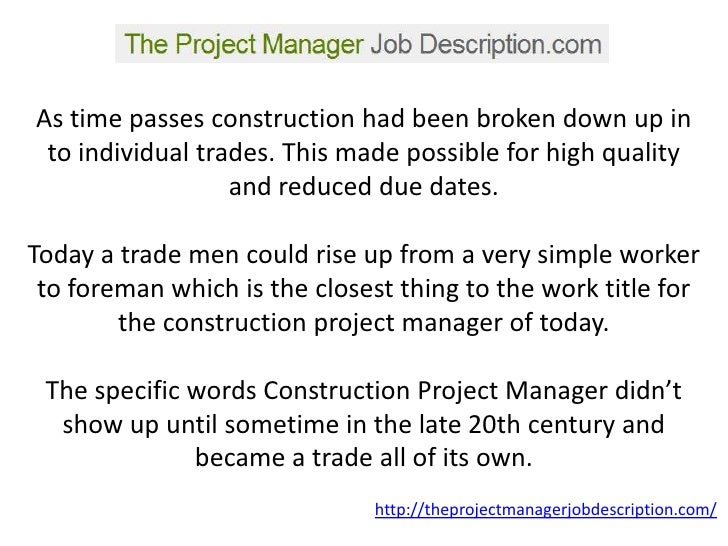 job description of project manager center project manager job – Construction Manager Job Description