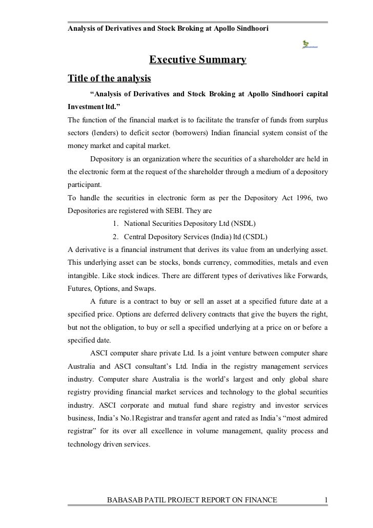 A project on analysis of derivatives and stock broking at apollo sindhoori