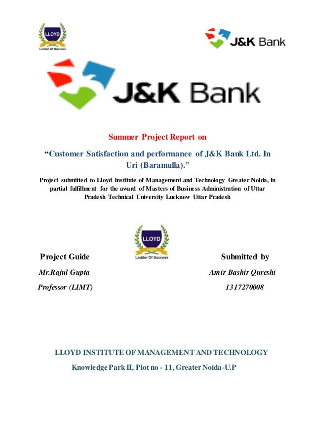 project report on customer satisfaction on bank Customer satisfaction mba project report 2018 2019 please provide me the mba project report on customer satisfaction.
