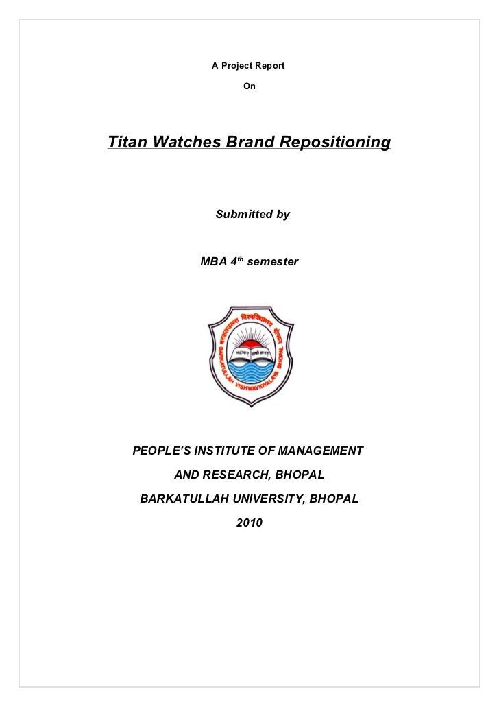 A Project Report                   OnTitan Watches Brand Repositioning             Submitted by           MBA 4th semester...