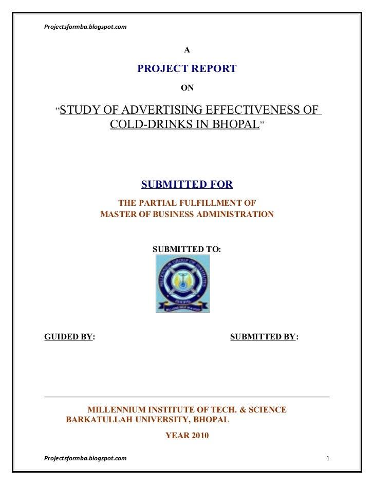 Projectsformba.blogspot.com                                     A                              PROJECT REPORT             ...