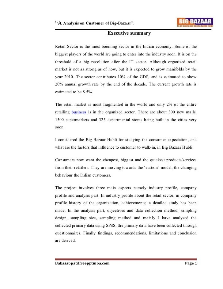 A project report on  analysis on customer of  big bazaar