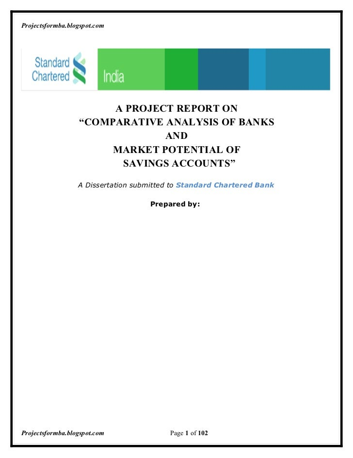 """Projectsformba.blogspot.com                       A PROJECT REPORT ON                  """"COMPARATIVE ANALYSIS OF BANKS     ..."""