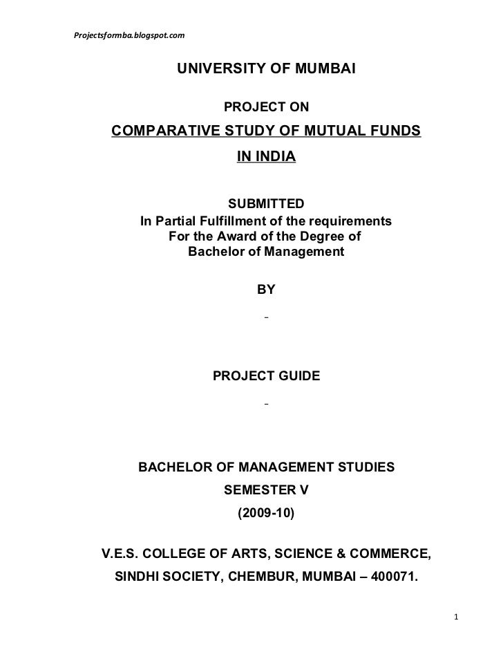 A project report on comparative study of mutual funds in india