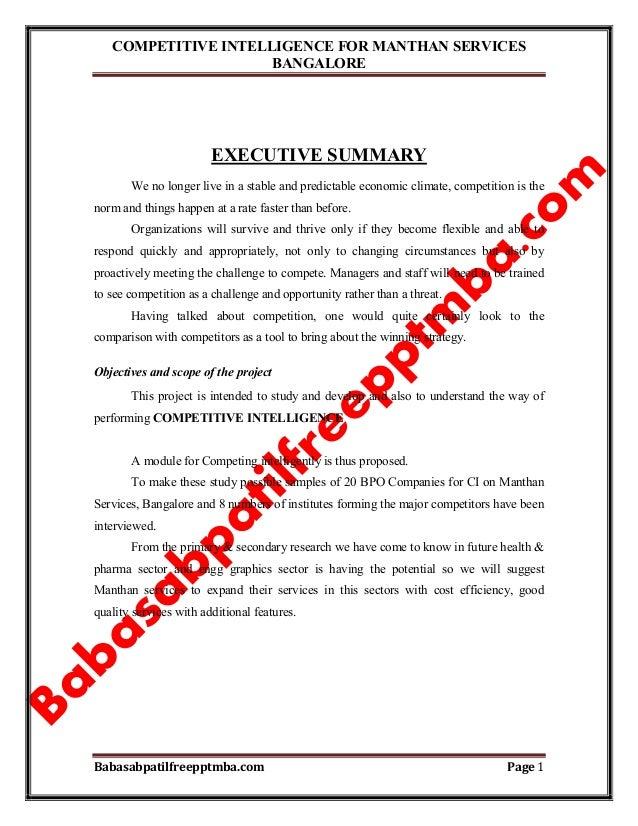COMPETITIVE INTELLIGENCE FOR MANTHAN SERVICES BANGALORE Babasabpatilfreepptmba.com Page 1 EXECUTIVE SUMMARY We no longer l...
