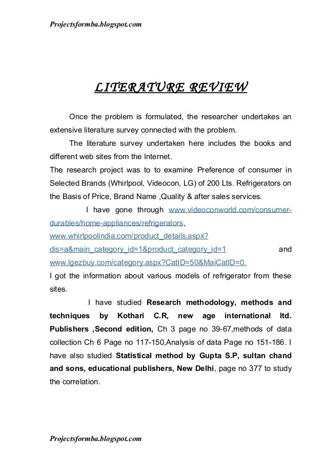 How to write literature review for project