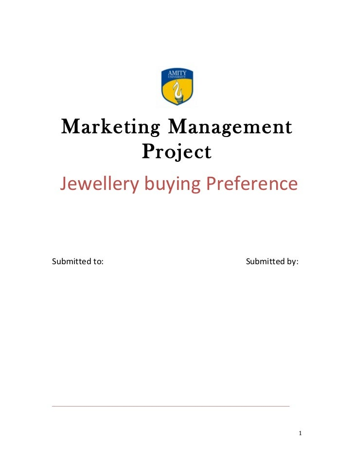 A project report on consumer's preference among the branded and non branded jewellery