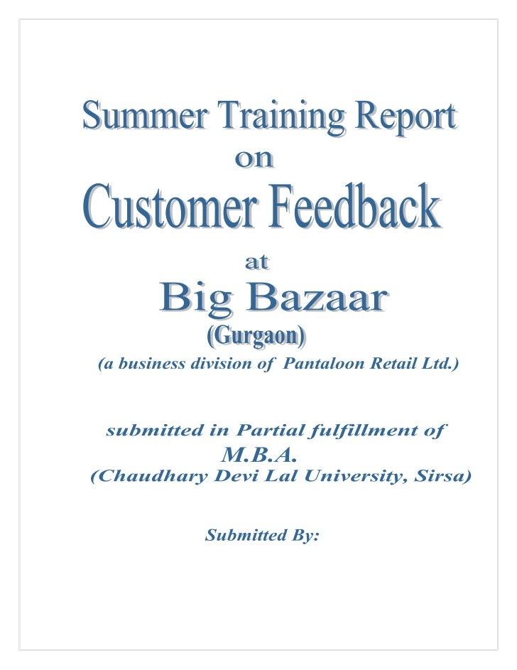 A project report on customer feedback at big bazaar