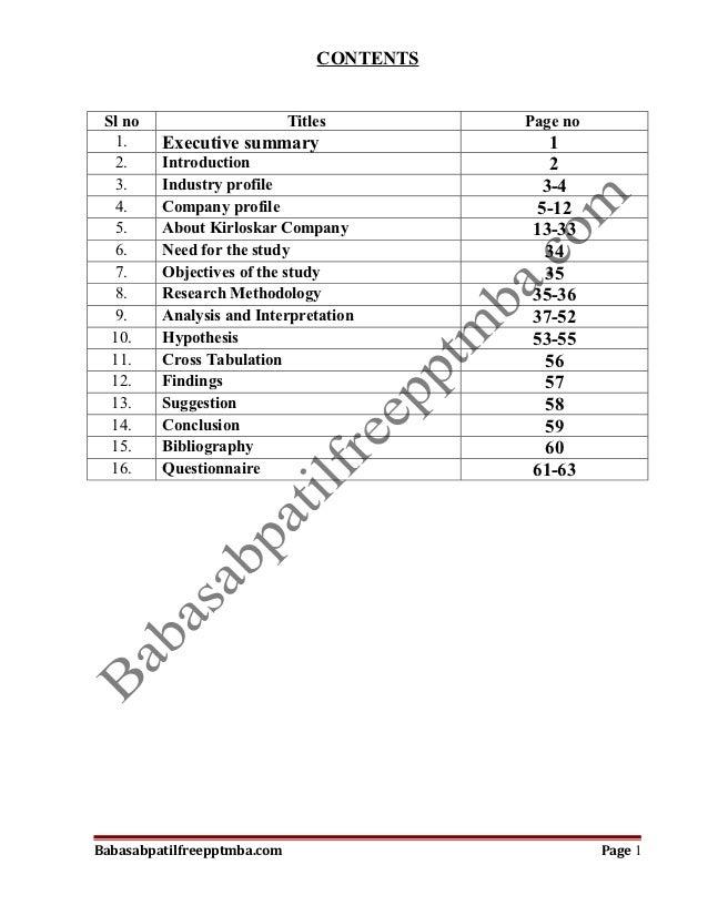 CONTENTS Sl no                       Titles         Page no   1.    Executive summary                     1   2.    Introd...