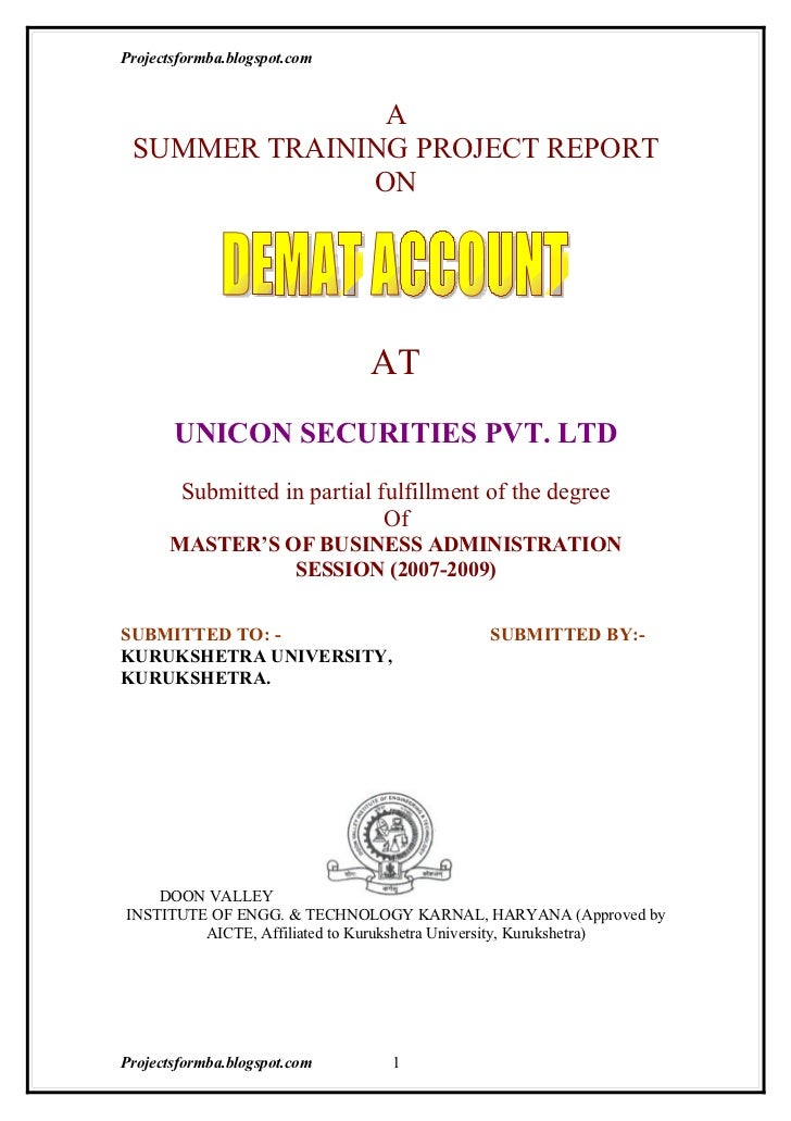 A project report on demat account at unicon securities pvt. ltd.