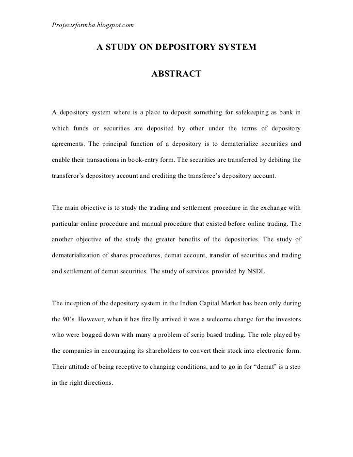 Projectsformba.blogspot.com                 A STUDY ON DEPOSITORY SYSTEM                                    ABSTRACTA depo...