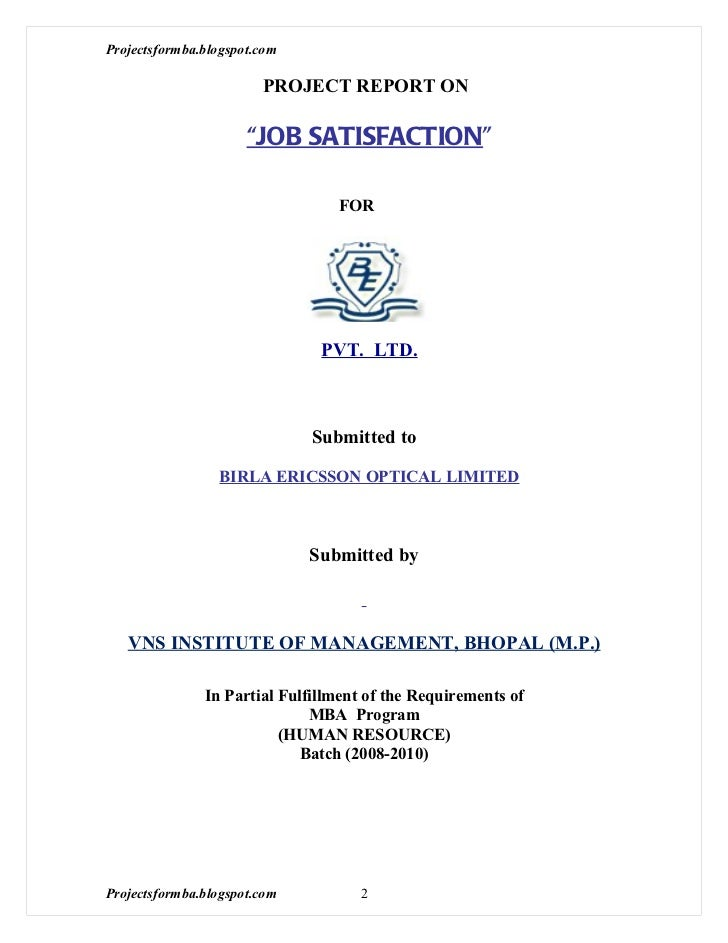 dissertation report on employee satisfaction