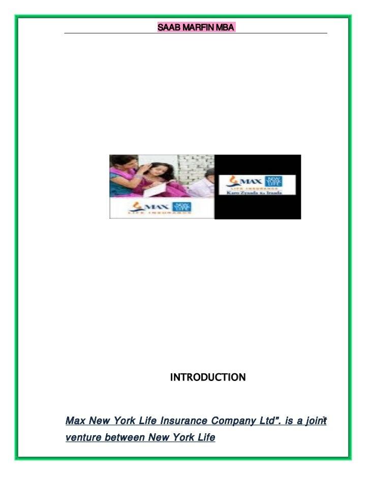 SAAB MARFIN MBA                    INTRODUCTION                                                   1Max New York Life Insur...