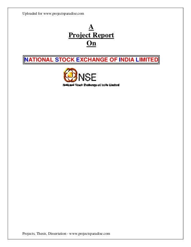 A project report on nse