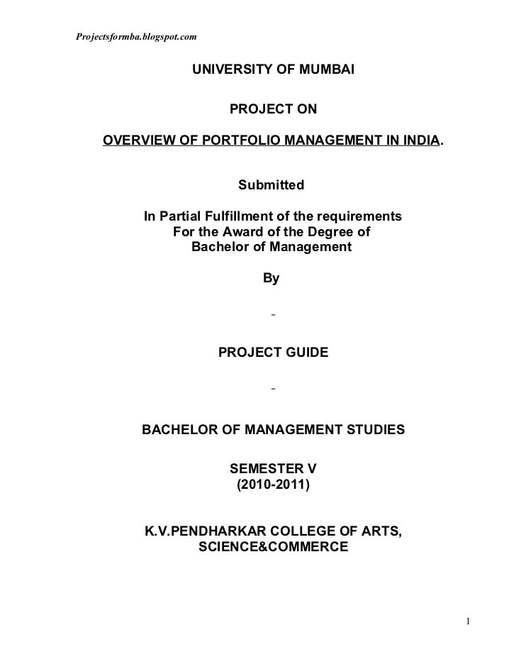 A project report on overview of portfolio management in india