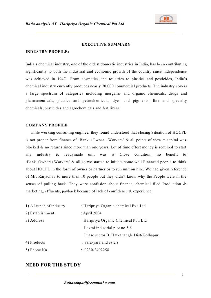 Ratio analysis AT Haripriya Organic Chemical Pvt Ltd                                 EXECUTIVE SUMMARYINDUSTRY PROFILE:Ind...