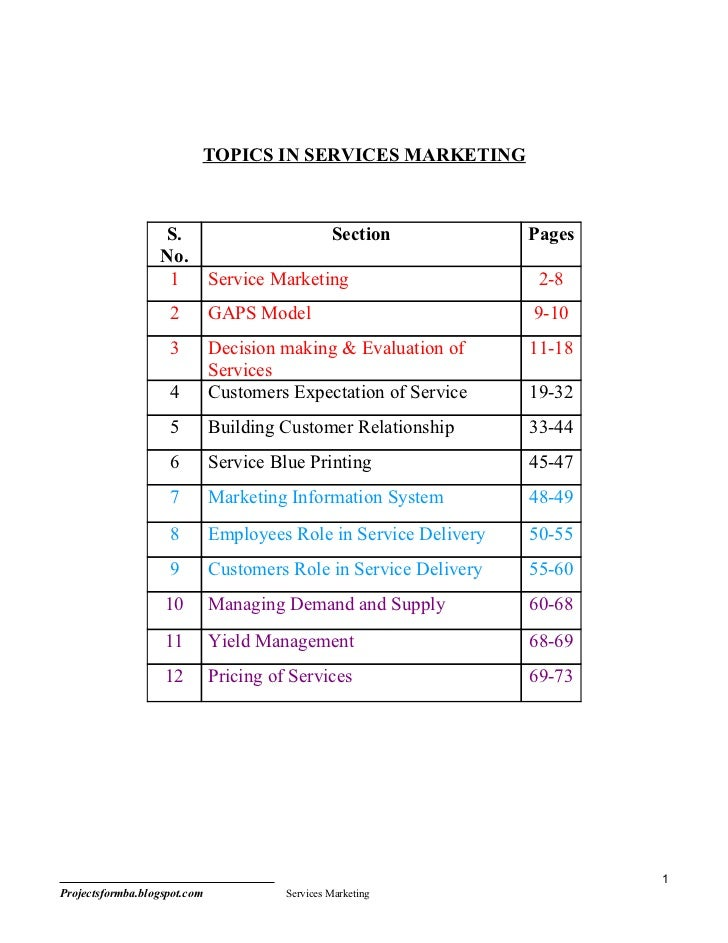 TOPICS IN SERVICES MARKETING                  S.                             Section           Pages                  No. ...