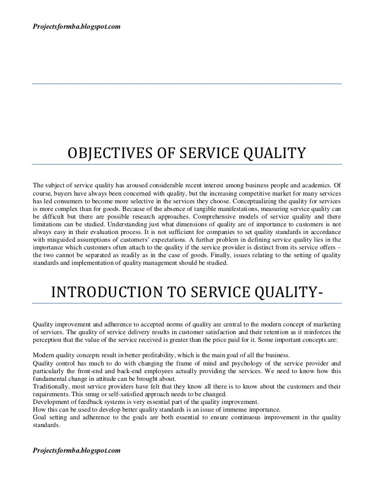 Research paper service quality
