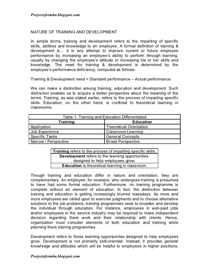 Dissertation report on training and development