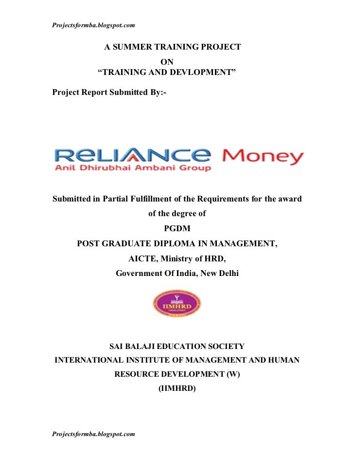 A project report on training and development in reliance money