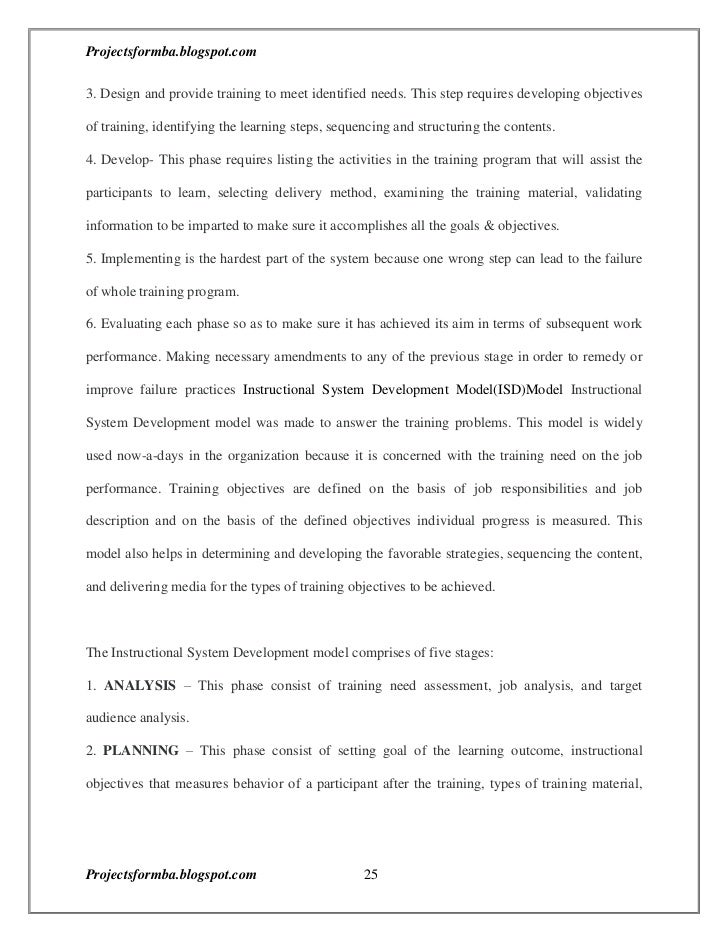 dissertation report on training development Project reports on training and development development of halbr dissertation submitted br in partial fulfillment for thebr br post project report on training.