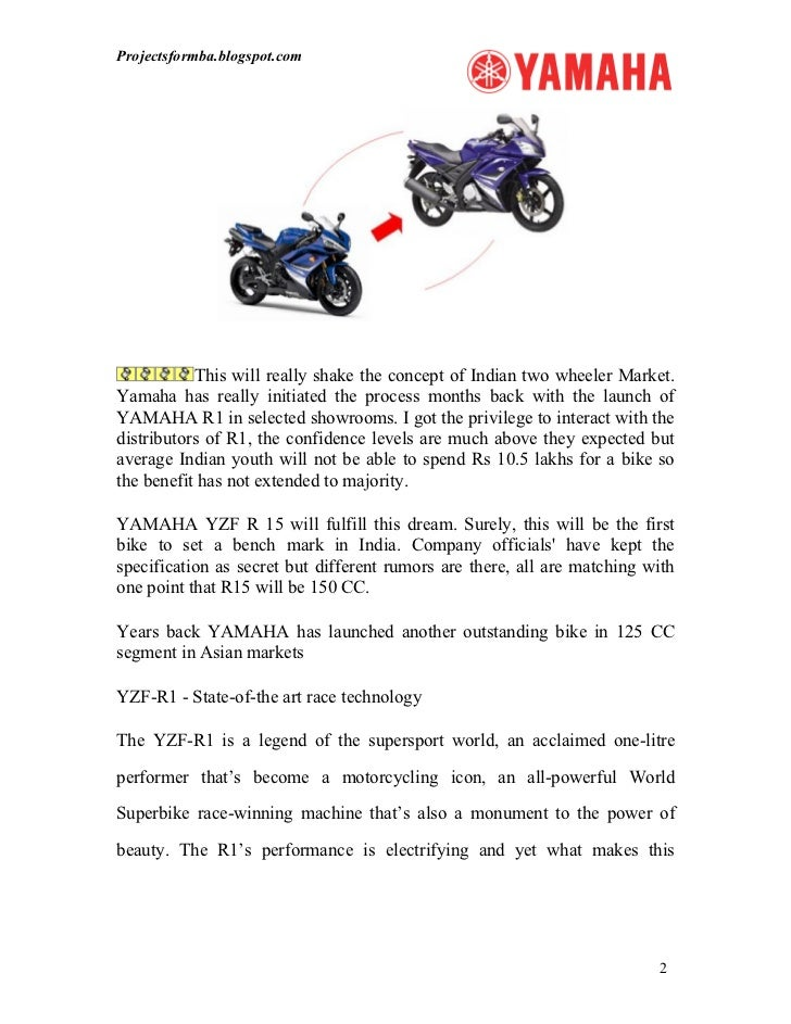 project report regarding yamaha motors A history of yamaha spirit of challenge introducing the 50-year history of yamaha outboard motors (1960-2010) yamaha outboards forged in demanding overseas markets.