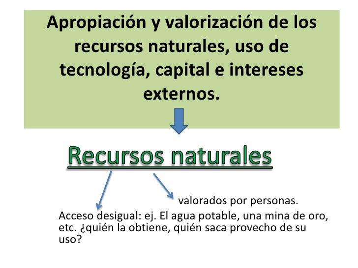 Apropiación y valorización de los recursos naturales,