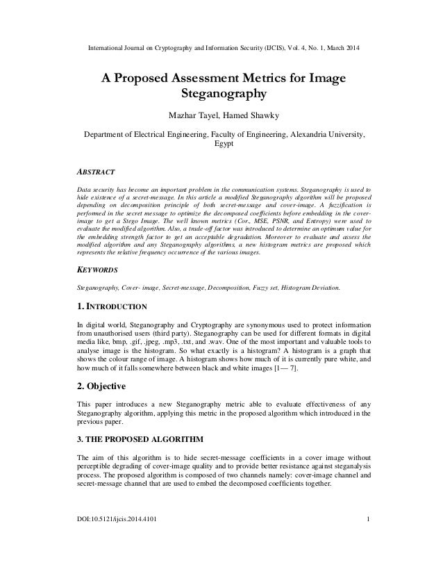 A proposed assessment metrics for image steganography
