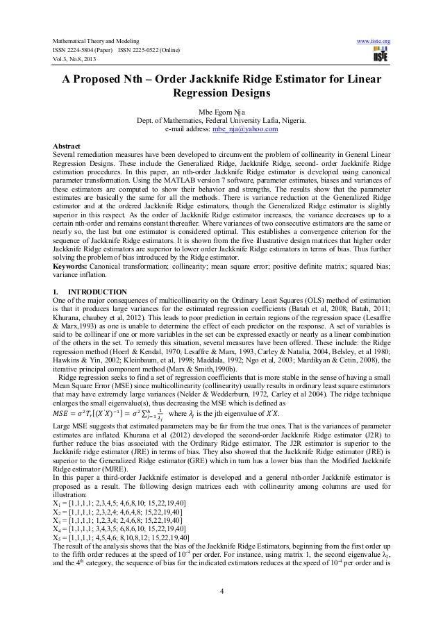 A proposed nth – order jackknife ridge estimator for linear regression designs
