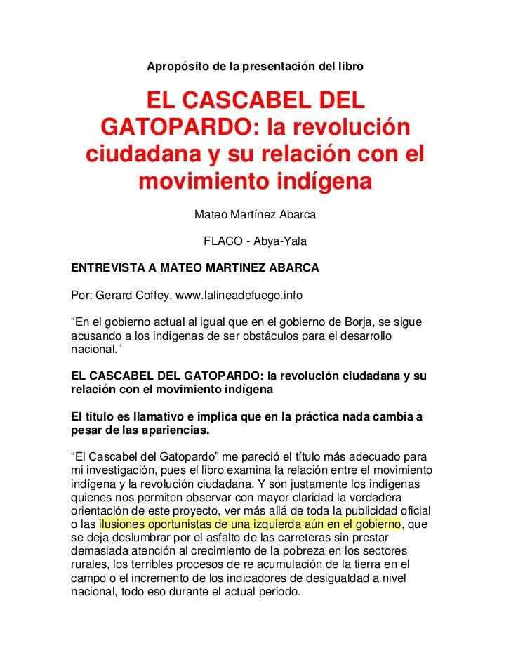 Apropósito de la presentación del libro       EL CASCABEL DEL   GATOPARDO: la revolución  ciudadana y su relación con el  ...