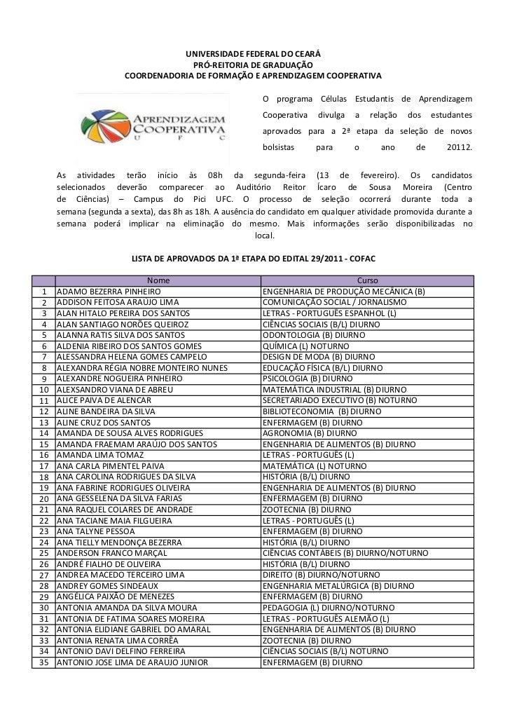 UNIVERSIDADE FEDERAL DO CEARÁ                                   PRÓ-REITORIA DE GRADUAÇÃO                      COORDENADOR...