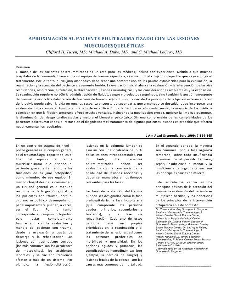 APROXIMACIÓN AL PACIENTE POLITRAUMATIZADO CON LAS LESIONES                           MUSCULOESQUELÉTICAS                  ...