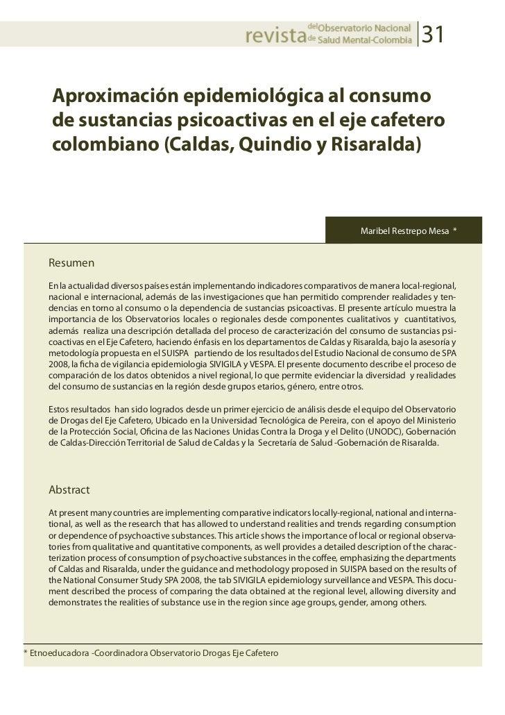 31      Aproximación epidemiológica al consumo      de sustancias psicoactivas en el eje cafetero      colombiano (Caldas,...