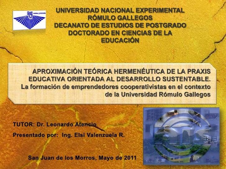 Aproximación teórica hermenéutica de la praxis educativa orientada al desarrollo sustentable
