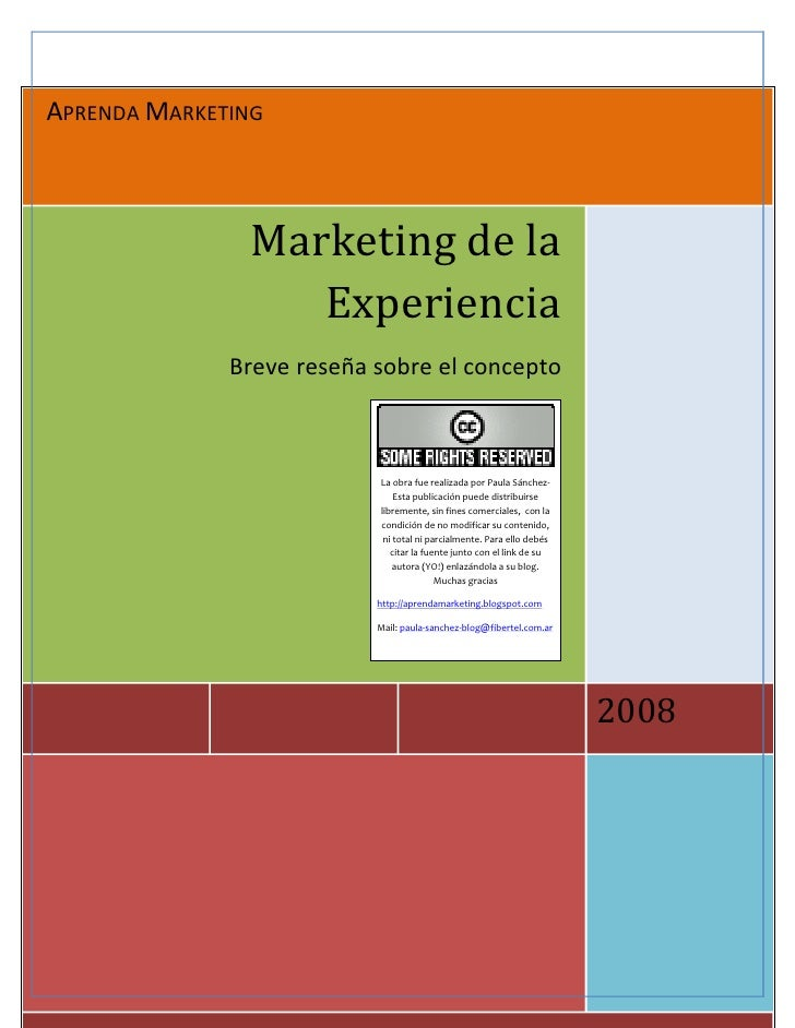 APRENDA MARKETING                   Marketing de la                   Experiencia               Breve reseña sobre el conc...