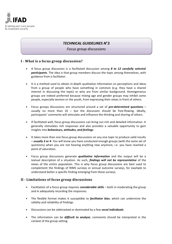 TECHNICAL GUIDELINES No3                                   Focus group discussions   I - What is a focus group discussion?...