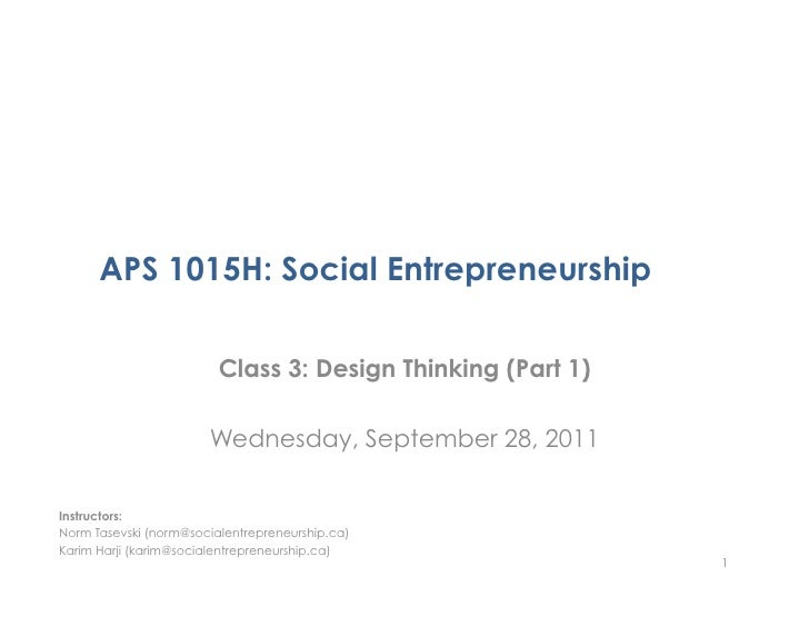 APS 1015H Class 3 - Design Thinking Part 1